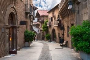 Hora Montjuic a španělská vesnice Poble Espanyol
