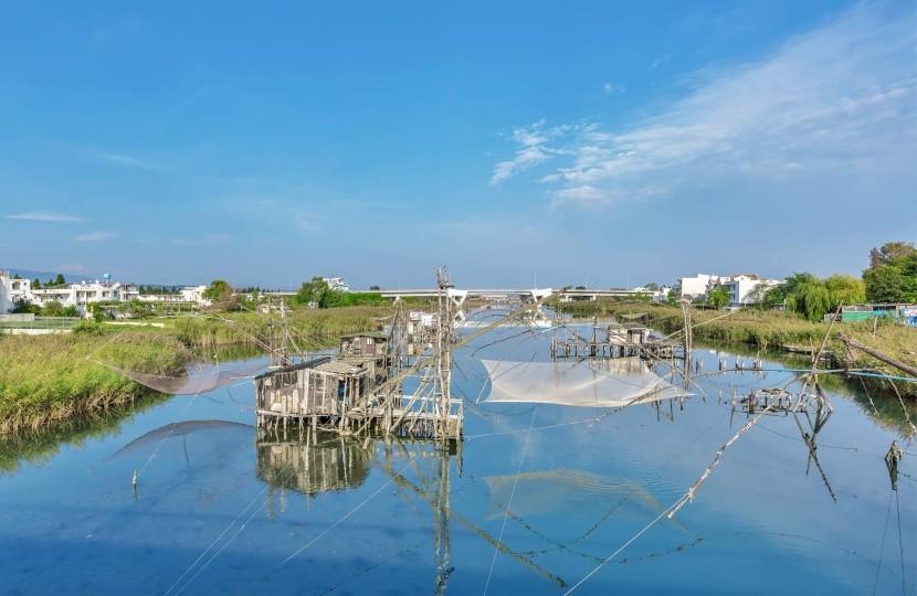 Tradičné rybárske siete na rieke Bojana