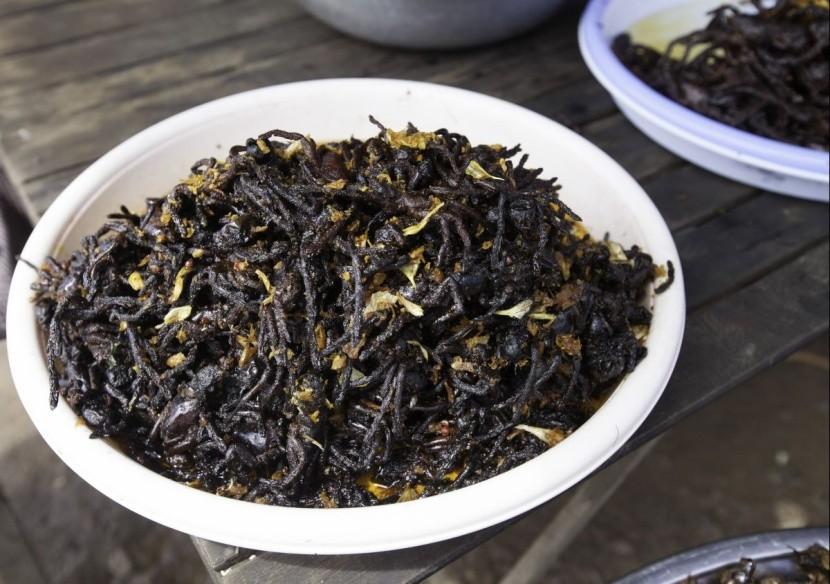 Sült tarantula Kambodzsa nemzeti étel