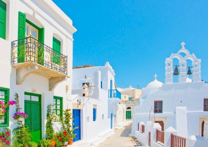 Tradiční domy ve městě Chora, Amorgos, Řecko