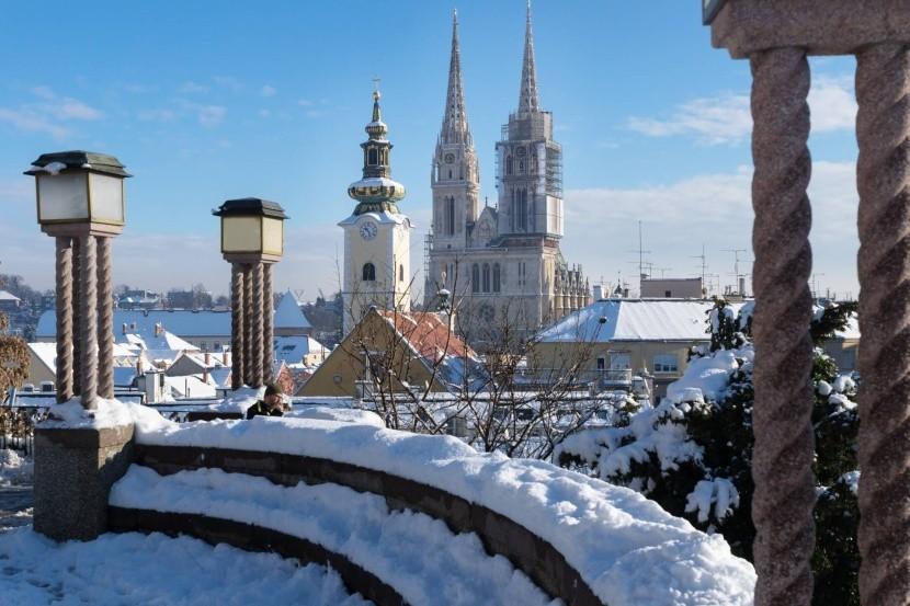 Záhreb pod snehom