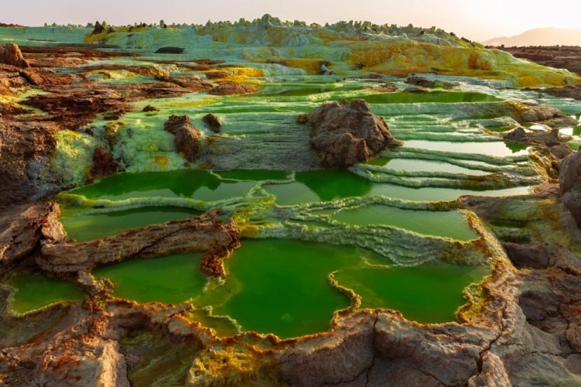 Vulkanické jazerá v etiópskom Dallole