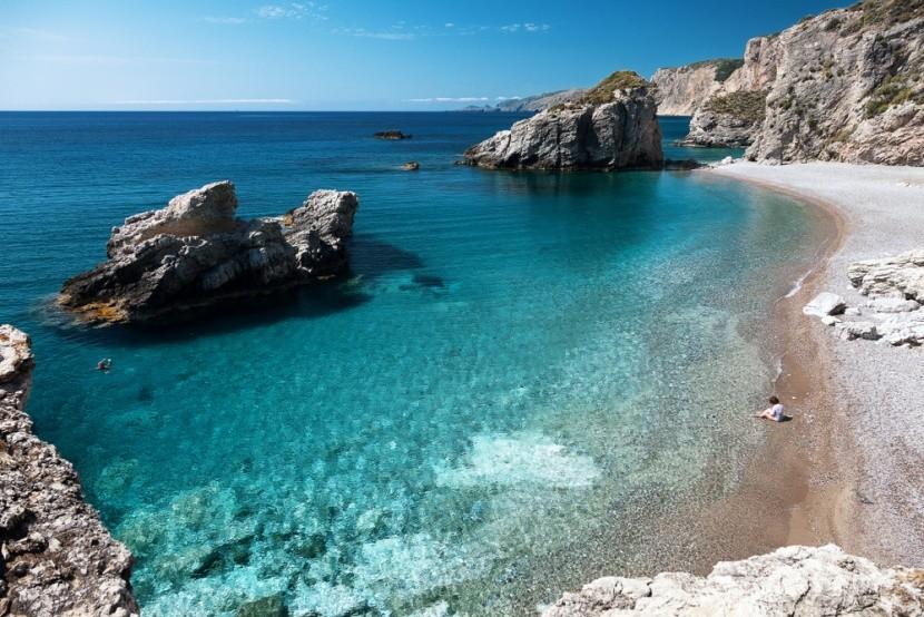 Pláž Kaladi na gréckom ostrove Kythira