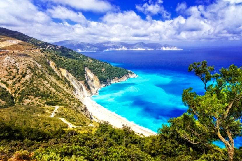 Myrtos beach, az egyik legszebb görög part