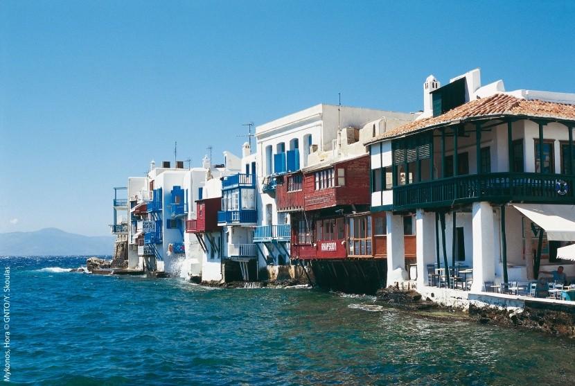 Nadmorskie miasteczko Mykonos, Wyspy Egejskie
