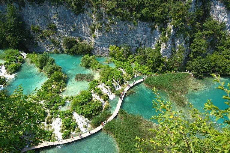 Jeziora Plitwickie z lotu ptaka, Chorwacja